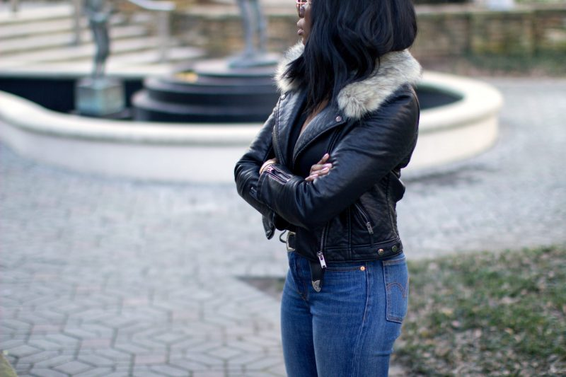 Leather Jacket Fur Collar | MILLENNIELLE