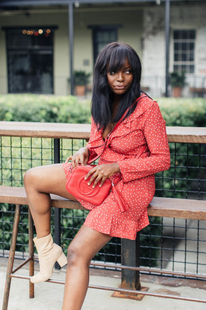 Red dress + Tan Booties (Realisation Par & Free People) | MILLENNIELLE