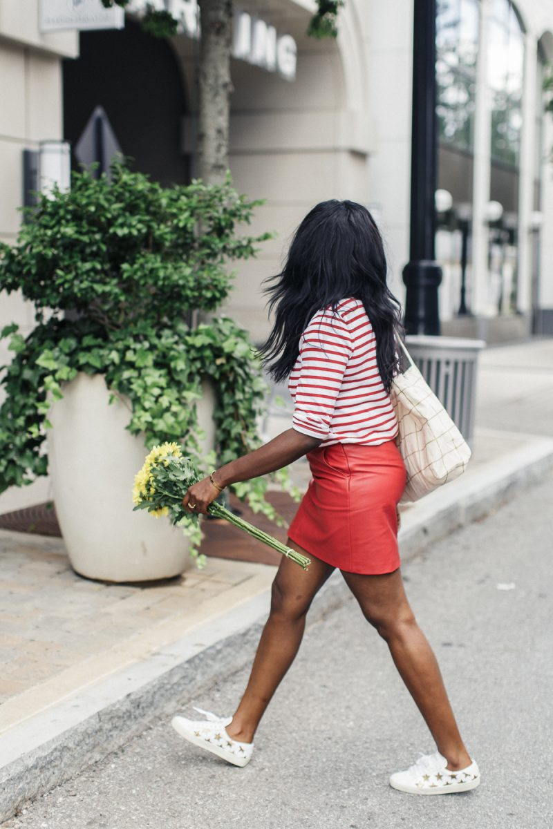 Red Striped Comme des Garcons top + Red Leather Skirt + Saint Laurent Star Sneakers | MILLENNIELLE